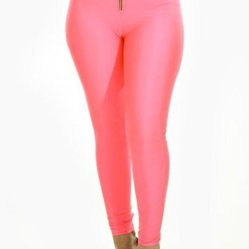 Zipper High Waist Shiny Leggings - Coral