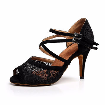 2017 Black Lace Latin Salsa Tango Female High Heels 5/6/7.5/8.5cm Ballroom Dance sandals Soft Bottom Practice Shoes VA20