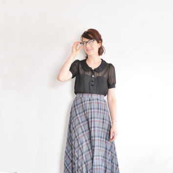 gray blue tartan plaid skirt . preppy pleated wool uniform .large