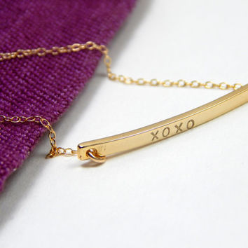 Gold bar XOXO bracelet, XO XO bracelet, gold bracelet, hugs and kisses bracelet, gold bar bracelet, everyday bracelet, stamped bracelet