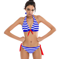NAKIAEOI 2017 Sexy Bikinis Women Swimsuit Swimwear Halter Top Plaid Brazillian Bikini Set Bathing Suit Summer Beach Wear Biquini