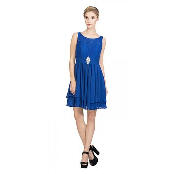 Starbox USA S6146 Sleeveless Bateau Neck Lace Bodice Short Bridesmaids Dress Royal Blue