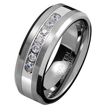 8mm Silver Tungsten Carbide Ring Cubic Zirconia Wedding Jewelry Engagement Promise Band for Him Matte Finish (Platinum)