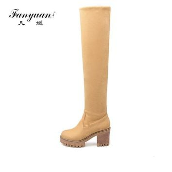 2017 New Arrival Spring/Autumn Women's Fashion Boots Slip-on Solid High Square Heel Boots Girl's Round Toe Over-the-Knee Boots