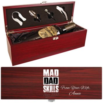 Mad Dad Skills Wine Box - One Bottle Set With Personalized Message From Wife - Premim Quality Made In USA - Unique Dad Gift Idea For Wine Lovers