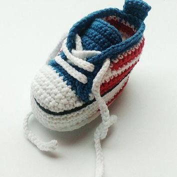 DCKL9 Crochet baby sneakers, Crochet sneakers, Converse shoes, Crochet shoes, Baby booties,