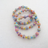 Kids Bracelet Paper Bead Multi Color Pastel Rainbow Stretch Stacking Bracelet Childrens Jewelry Kids Easter Bracelet