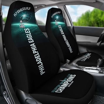 Philadelphia Eagles Car Seat Covers 2pcs Midnight Green Black Super Bowl Champs