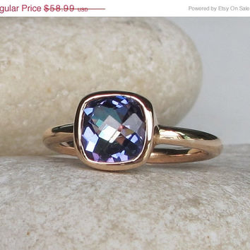 SALE Mystic Topaz Ring- Blue Topaz Ring- Rainbow Ring- Gifts for her- Quartz Ring- Stack Ring- Stacking Ring- Stack Gemstone Ring- Square Ri