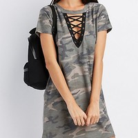 Camo Lace-Up T-Shirt Dress