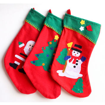 Embroidery Christmas Fabric Stocking Sock Gifts Bags Tree Decoration Deer,Santa,Snowman Pattern Christmas (Size: 41CM) [9431835588]