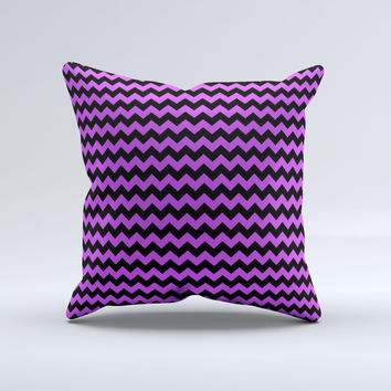 Black & Purple Chevron Pattern Ink-Fuzed Decorative Throw Pillow