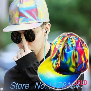 Trendy Winter Jacket G-dragon Bigbang GD Color Changing Snapback Laser BACK TO THE FUTURE MARTY MCFLY Hat/Cap Hologram Holographic AT_92_12