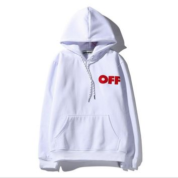 Tide brand off white Religious oil painting twill print men and women hooded sweater coat White One-nice™