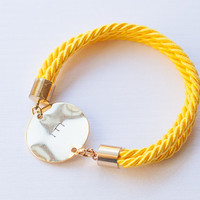 Personalized Bracelet Yellow Golden Nautical bracelet personalized jewelry initial bracelet bridal wedding bridesmaid silk cord bracelet