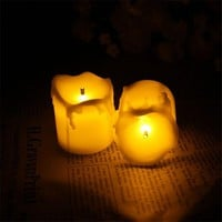 12pcs Flameless Candles With Timer/Electric Amber Yellow Candle LED Tea Light Home Dinner Room Party Decor/Big Votive Candles