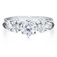 Sterling Silver 925 Cubic Zirconia CZ 3-Stone Fashion Ring #r378