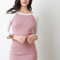 Two-Tone Rib Knit Raglan Sleeve Dress