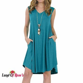 Plus-Size  Sleeveless Pockets V-neck Sundress  Loose Dress