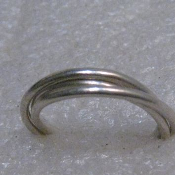Sterling Silver Trinity Triple Band Ring,  Past, Present, Future, Wedding/Anniversary Band, Size 7, 3.39 grams, 1970's