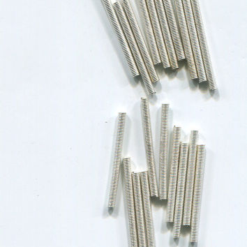 metal beads metal tube finding 2mm x 25mm 12 piece spring bead silver steampunk jewelry