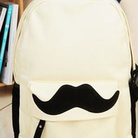 Sweet Cute Mustache Leisure Canvas Backpack