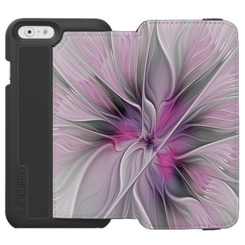 Floral Fractal Modern Abstract Flower Pink Gray iPhone 6/6s Wallet Case