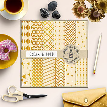 Cream And Gold Digital Paper Gold Foil Paper Gold Sparkle Paper Ivory Background Textured Paper Gold Patterns Chevron Polkadot Stripes Stars