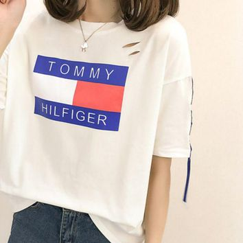 DCCKN6V Women Fashion 'Tommy Hilfiger' Print T-Shirt Top Tee
