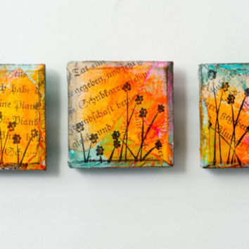 Whimsical mixed media art magnets . original miniature wood block paintings . small gifts . sunset . spring