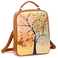 Small Women's Trees Stamp Windmill Printed School Tide Shoulder Bag Backpack