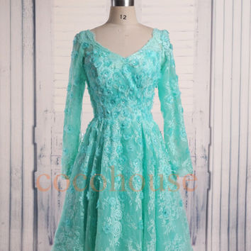 Mint Long Sleeves Lace Beaded Short Prom Dresses 2015, Evening Dresses ,Fashion Bridesmaid Dresses ,Party Dresses, Homecoming Dresses