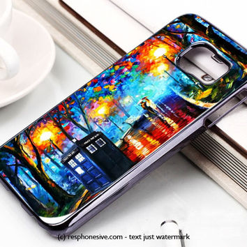Tardis Doctor Who In The Rain Samsung Galaxy S6 and S6 Edge Case