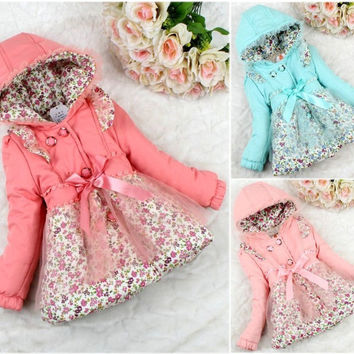 Winter Baby Kids Girls Floral Hooded Outerwear Dress Lined Warm Jacket Coat 2-6T