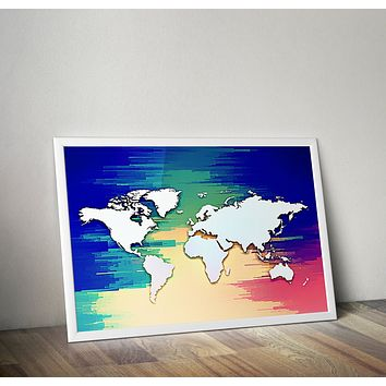 Reiki Charged Blue Colorful Pixelated Map Of Earth Yoga Grunge Hippie  Poster Bohemian Art Print Poster Design no frame 20x30 Large