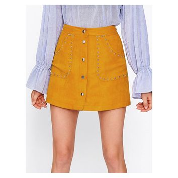 Yellow Studded Button Down Faux Suede Mini Skirt