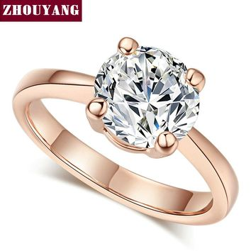 ZHOUYANG Wedding For Women Four Claw 8mm Cubic Zirconia Engagement Rose Gold Color Flashion Jewelry Girl Friend Gift R333 R335