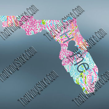 Florida Heart Home Decal | I Love Florida Decal | Homestate Decals | Love Sticker | Preppy State Sticker | Preppy State Decal | 049