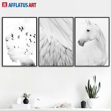 Horse Feather Girl Landscape Wall Art Canvas Painting Nordic Posters And Prints Black White Wall Pictures For Living Room Decor