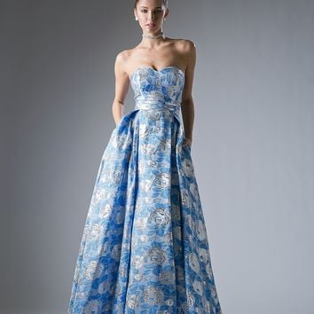 Prom Long Formal Dress Floral Print Gown