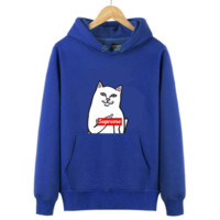 Trendy Unisex Lovers Supreme Ripndip Cat Hoodies