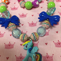 Girls Jewelry/Toddler/Baby/Necklace-Bracelet Set/Chunky Necklace/Bubble Gum Beads/My Little Pony/Gift Giving/Christmas Gift