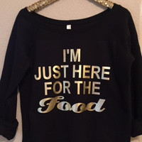 I'm Just Here For The Food  - Ruffles with Love - Off the Shoulder Sweatshirt - Womens Clothing - RWL