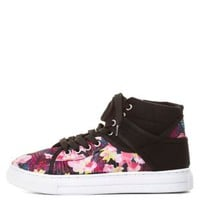 Qupid Floral Print High-Top Sneakers