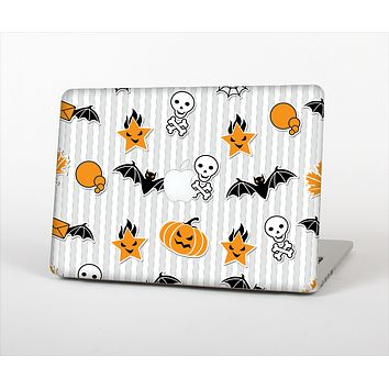 The Halloween Icons Over Gray & White Striped Surface  Skin Set for the Apple MacBook Air 11""
