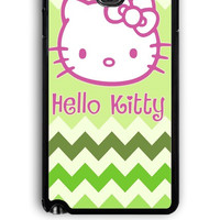 Samsung Galaxy Note 3 Case - Hard (PC) Cover with Hello Kitty on Green Chevron Plastic Case Design