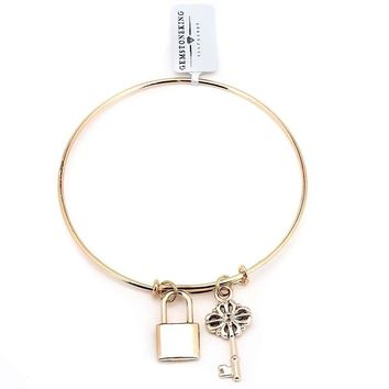 "3"" Wide Gold Plated Brass Lock and Key Bangle Bracelet"