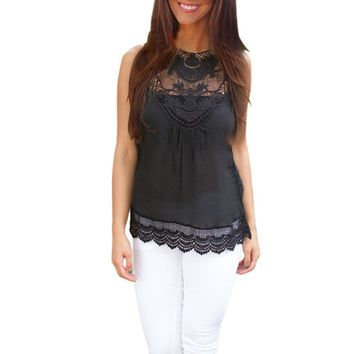 Womens Black Top Sleeveless Casual Lace Blouse