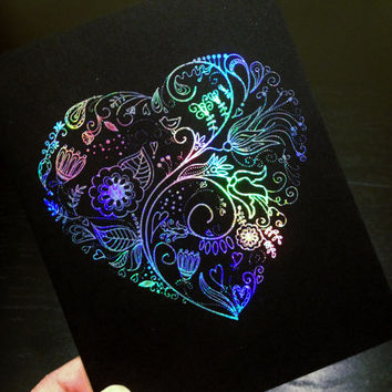Line Art Floral Heart Silver Holographic Foil Print Greeting Card on Black