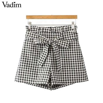 sweet bow tie ruffled plaid shorts pockets side zipper ladies autumn casual shorts